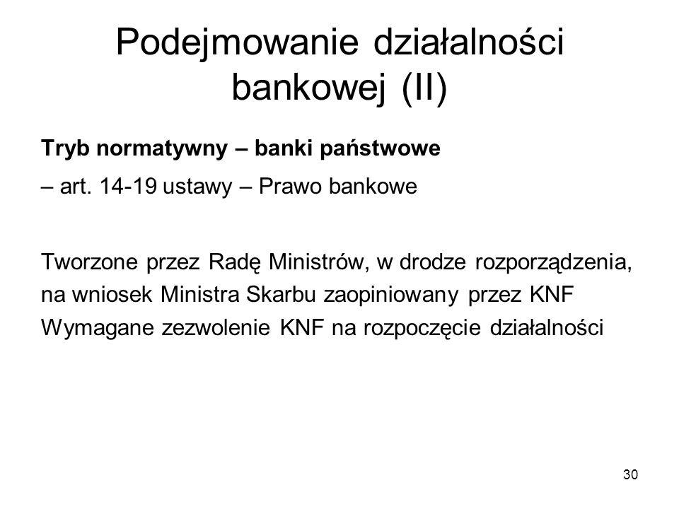 Podejmowanie działalności bankowej (II)