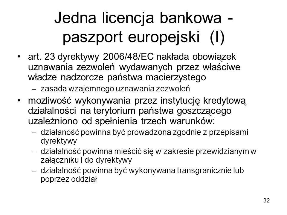 Jedna licencja bankowa - paszport europejski (I)