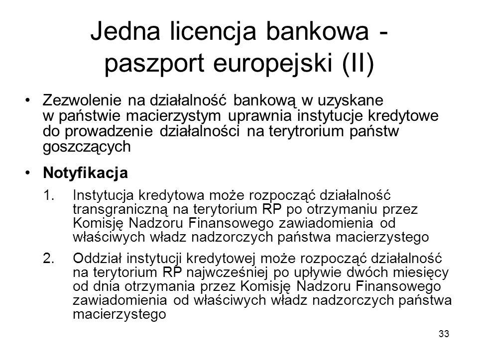 Jedna licencja bankowa - paszport europejski (II)