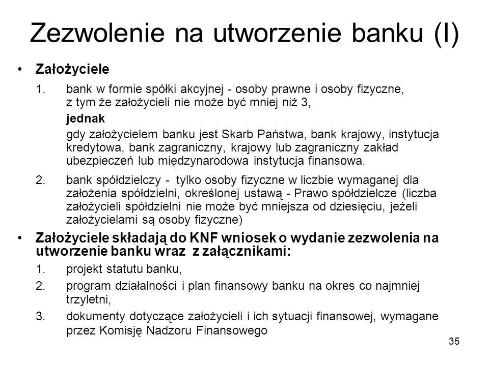 Zezwolenie na utworzenie banku (I)