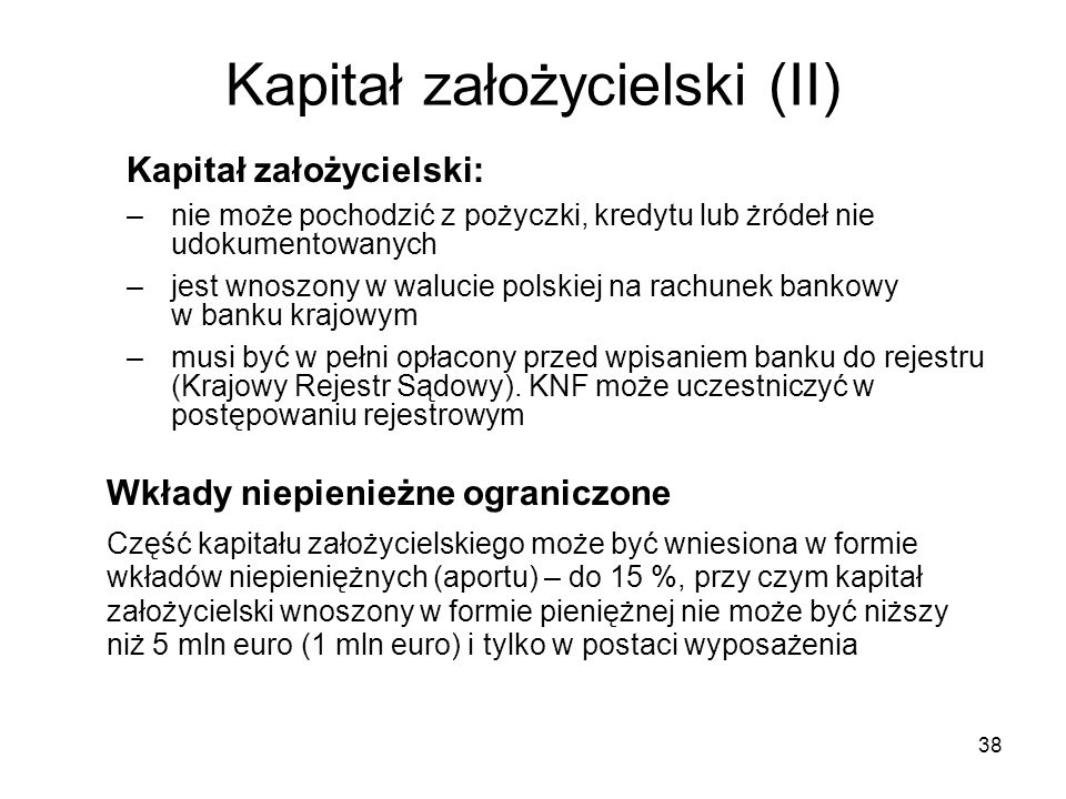 Kapitał założycielski (II)