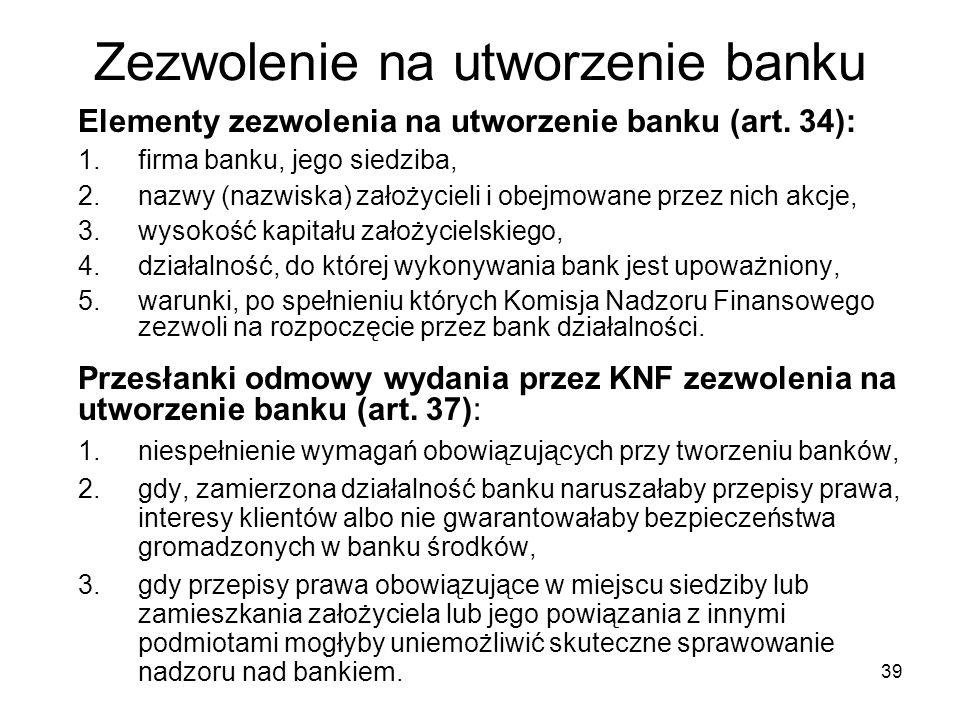 Zezwolenie na utworzenie banku