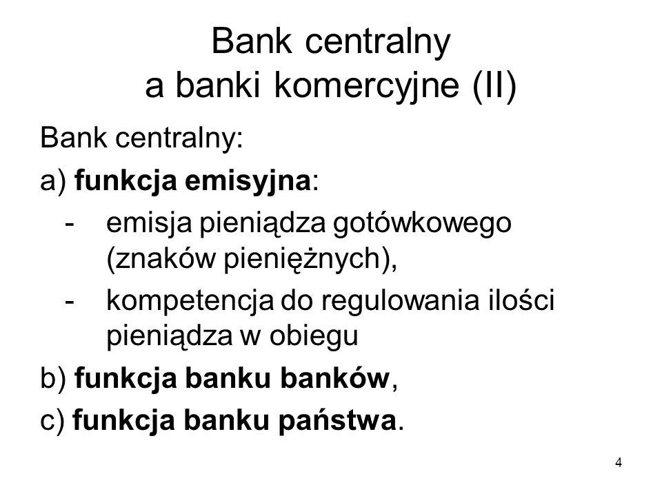 Bank centralny a banki komercyjne (II)