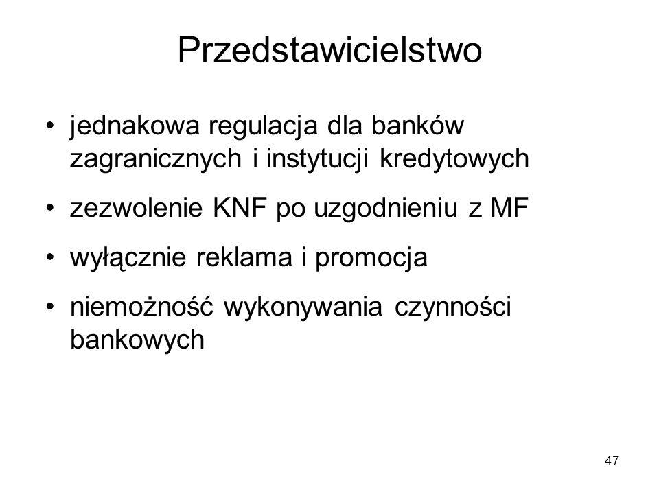 Przedstawicielstwo jednakowa regulacja dla banków zagranicznych i instytucji kredytowych. zezwolenie KNF po uzgodnieniu z MF.