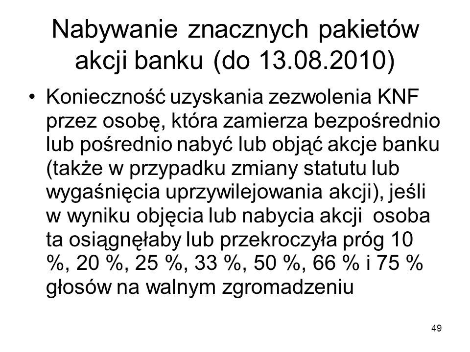 Nabywanie znacznych pakietów akcji banku (do 13.08.2010)