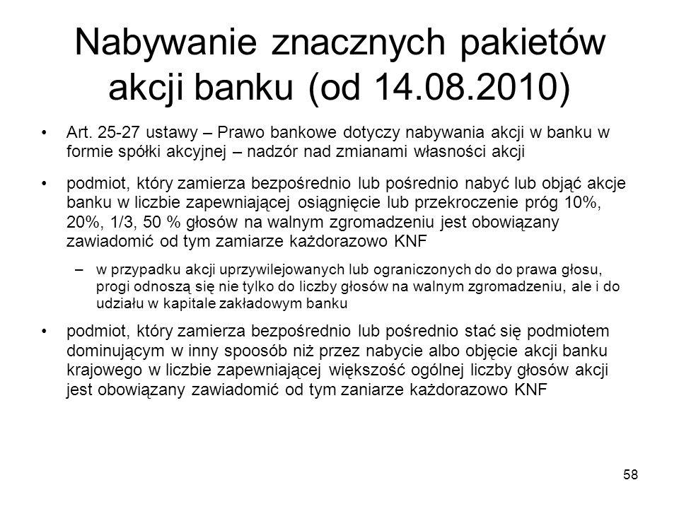 Nabywanie znacznych pakietów akcji banku (od 14.08.2010)