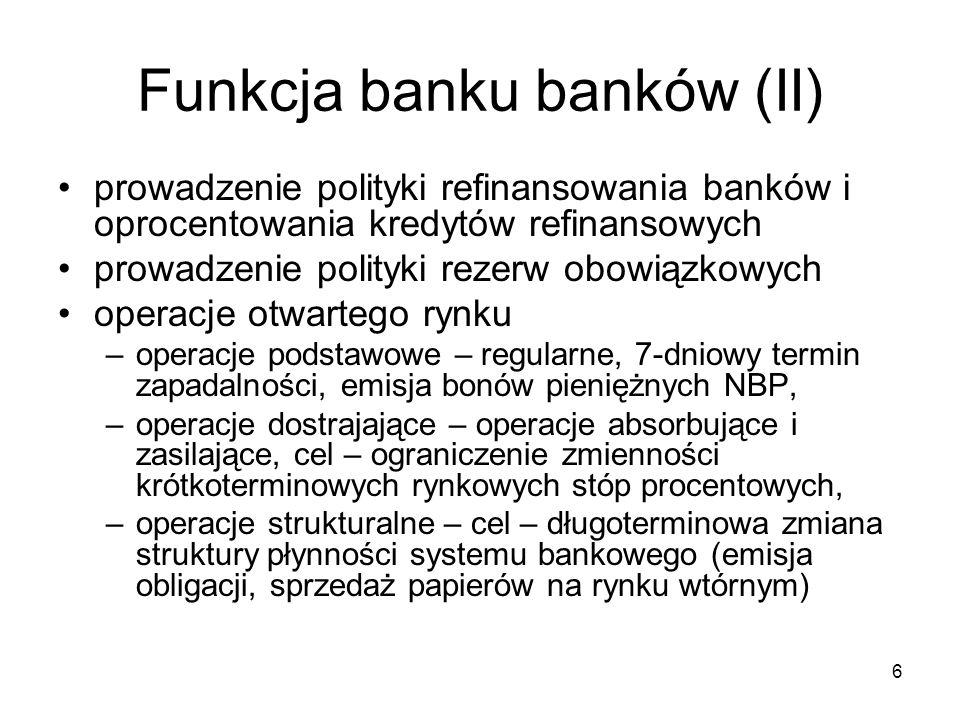 Funkcja banku banków (II)