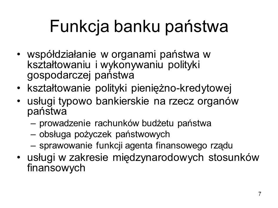 Funkcja banku państwa współdziałanie w organami państwa w kształtowaniu i wykonywaniu polityki gospodarczej państwa.