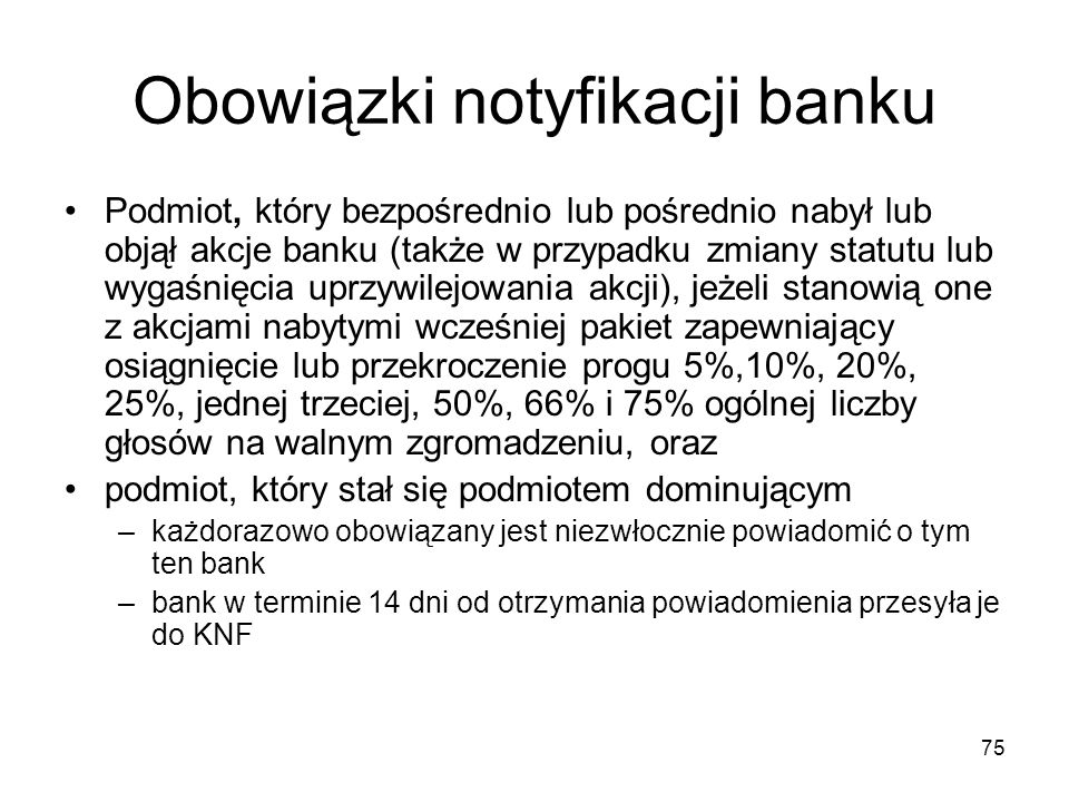 Obowiązki notyfikacji banku