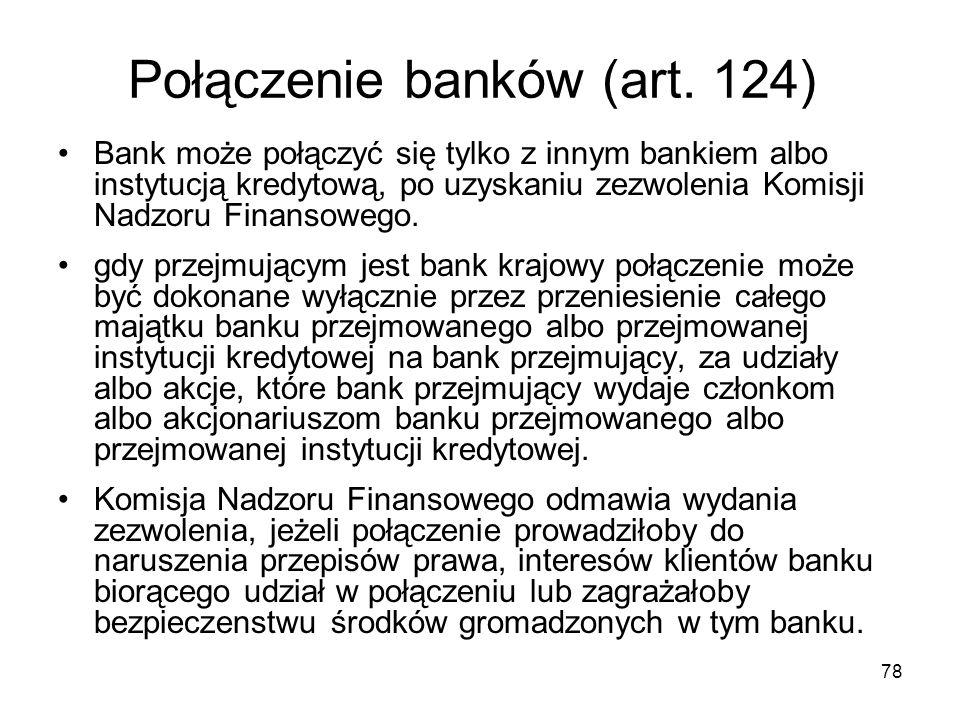 Połączenie banków (art. 124)