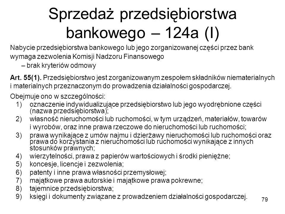 Sprzedaż przedsiębiorstwa bankowego – 124a (I)