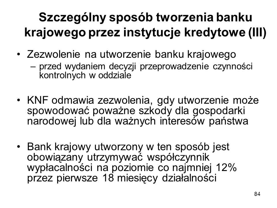 Szczególny sposób tworzenia banku krajowego przez instytucje kredytowe (III)