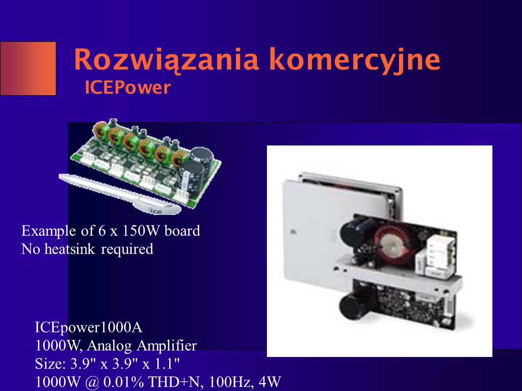 Rozwiązania komercyjne ICEPower