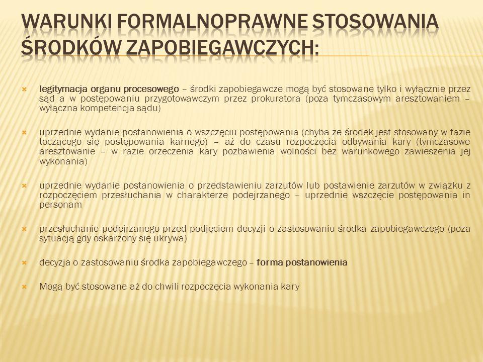 warunki formalnoprawne stosowania środków zapobiegawczych: