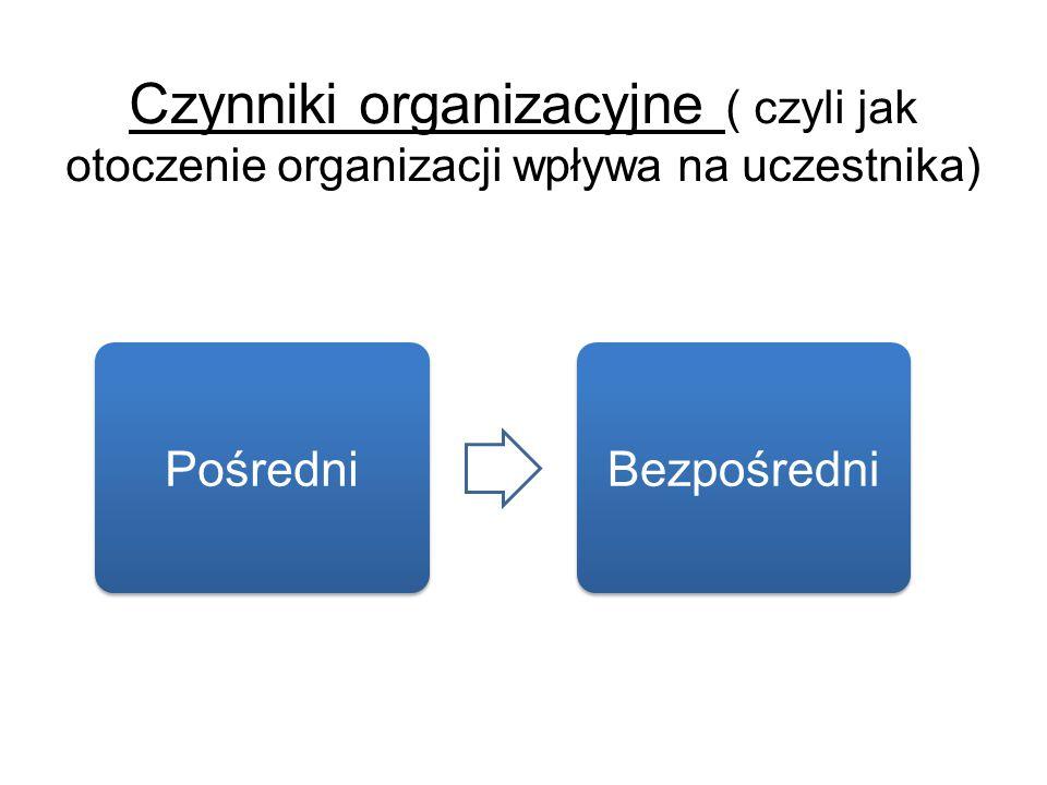Czynniki organizacyjne ( czyli jak otoczenie organizacji wpływa na uczestnika)