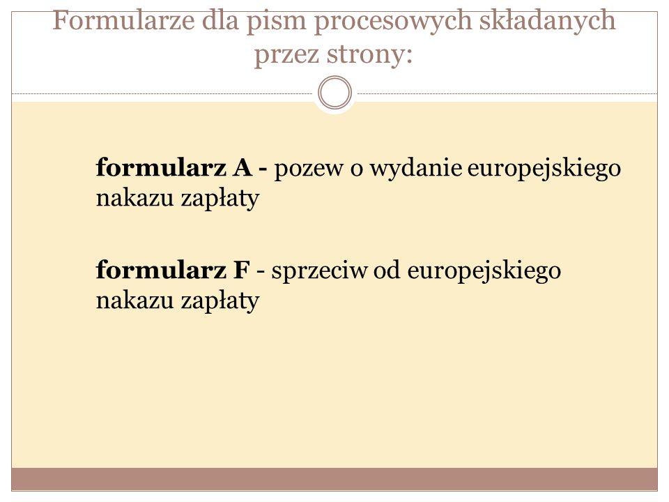 Formularze dla pism procesowych składanych przez strony: