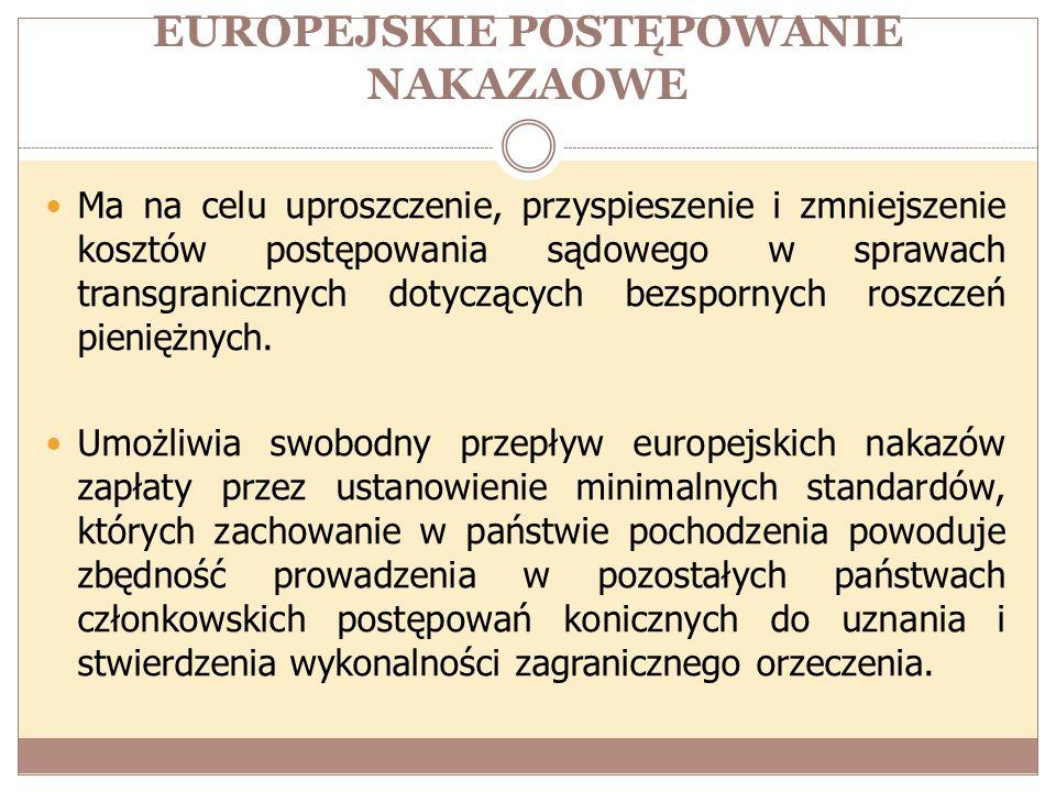 EUROPEJSKIE POSTĘPOWANIE NAKAZAOWE