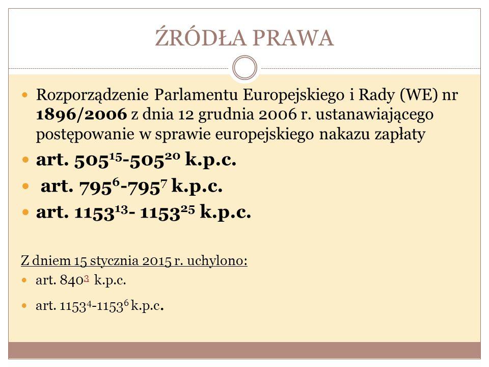 ŹRÓDŁA PRAWA art. 50515-50520 k.p.c. art. 7956-7957 k.p.c.