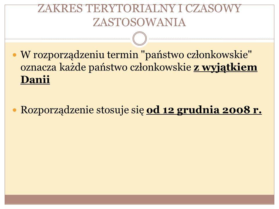 ZAKRES TERYTORIALNY I CZASOWY ZASTOSOWANIA