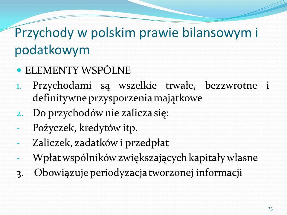 Przychody w polskim prawie bilansowym i podatkowym