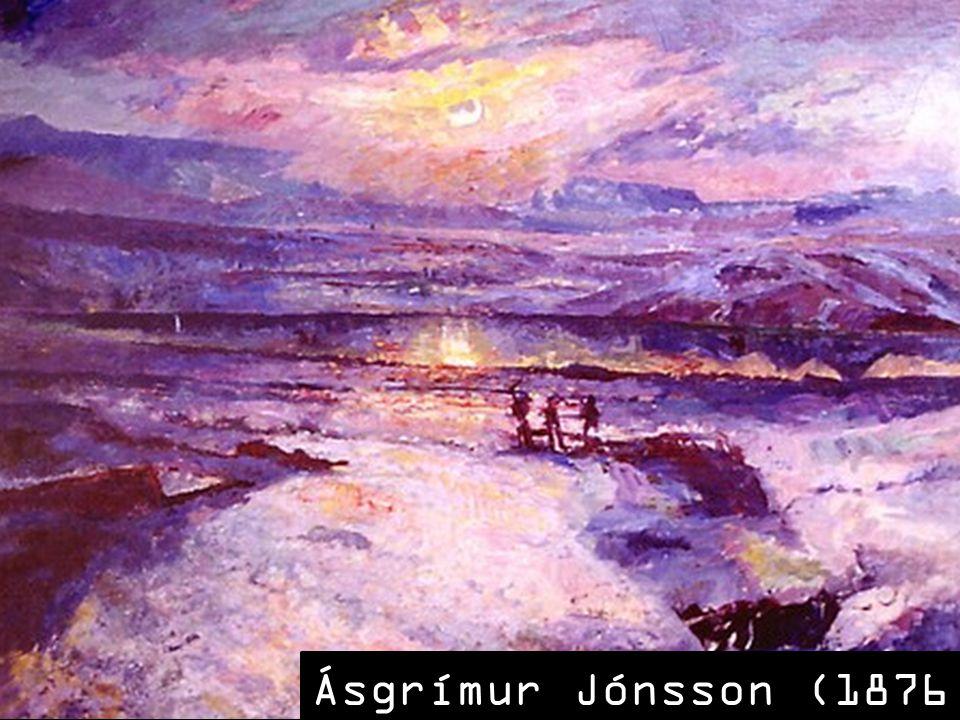 SLAJD 5: Drugim ważnym pejzażystą tego okresu jest Asgrimur Jónsson, którego obrazy przywołują skojarzenia z oniryzmem czy baśniowością. To za sprawą rozjaśnienia palety i dodania jasnych, choć głównie chłodnych barw. Jónsson eksperymentował z impresjonizmem, próbował uzyskiwać efekty świetlne, załamywanie promieni słonecznych na śniegu czy w wodzie.