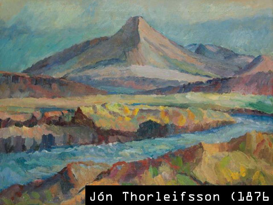 SLAJD 6: Jednak nie impresjonizm, a ekspresjonizm zakorzenił się w sztuce islandzkiej na dłużej, zapewne ze względu na fakt, iż panujące na północy warunki: chłód i zimno, podsycały takie doznania estetyczne. Ojcem islandzkiego ekspresjonizmu, mającego swe początki już w latach 30. XX wieku, jest Jón Thorleifsson. Jego wizytówką są niebezpieczne, niedostępne wzniesienia i pagórki odmalowane w ponurych, chłodnych barwach szybkimi, niespokojnymi pociągnięciami pędzla, często bardzo uproszczone.