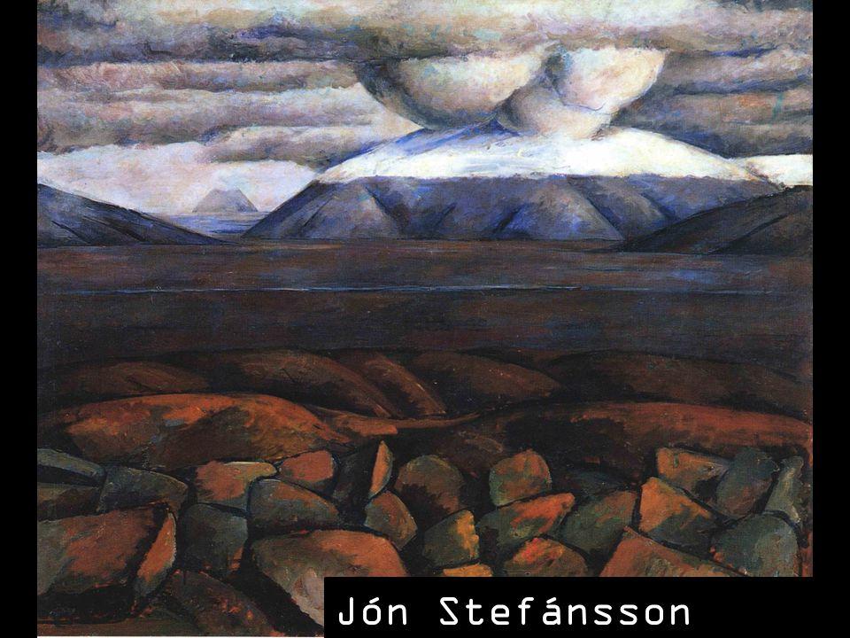 SLAJD 7: Podobne tematy podejmował w swoich pejzażach Jón Stefansson, który posunął się w uproszczeniach pejzażu jeszcze dalej, tworząc kompozycje kanciaste, a przede wszystkim bardzo płaskie, często dające się podzielić na strefy. Gama barwna jest bardzo wąska, opiera się do brunatnych i chłodnych barw, mamy też do czynienia z grubym, wyrazistym konturem. Styl ten przybliża Stefanssona do twórczości Paula Cezanne'a, prekursora kubizmu.