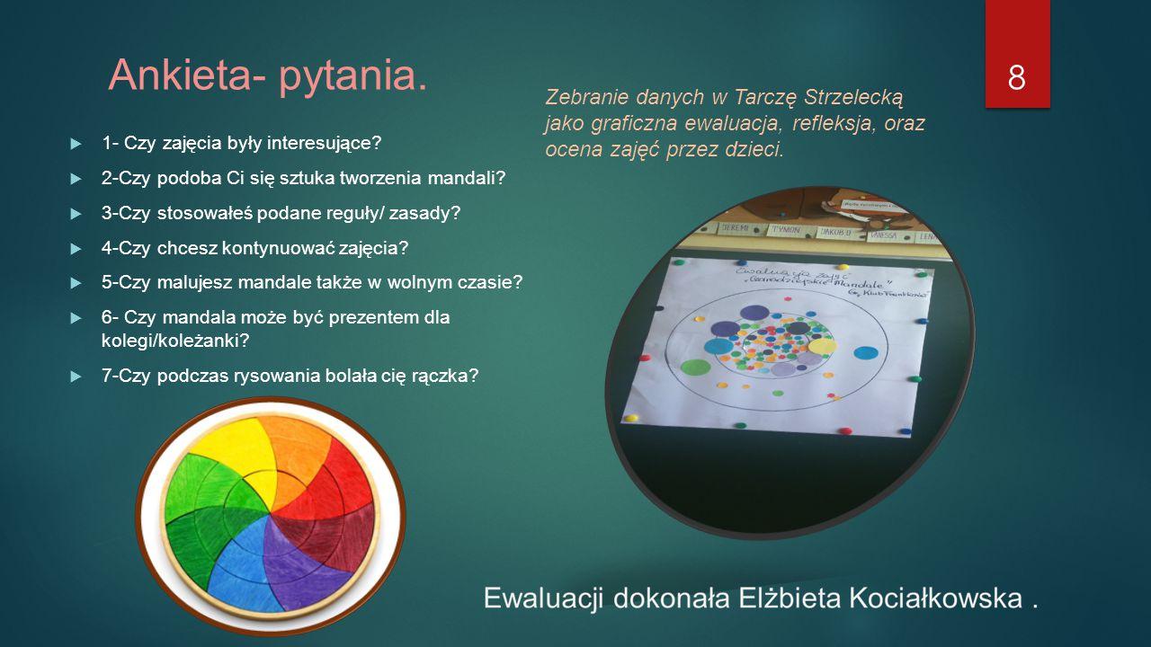 Ankieta- pytania. Zebranie danych w Tarczę Strzelecką jako graficzna ewaluacja, refleksja, oraz ocena zajęć przez dzieci.