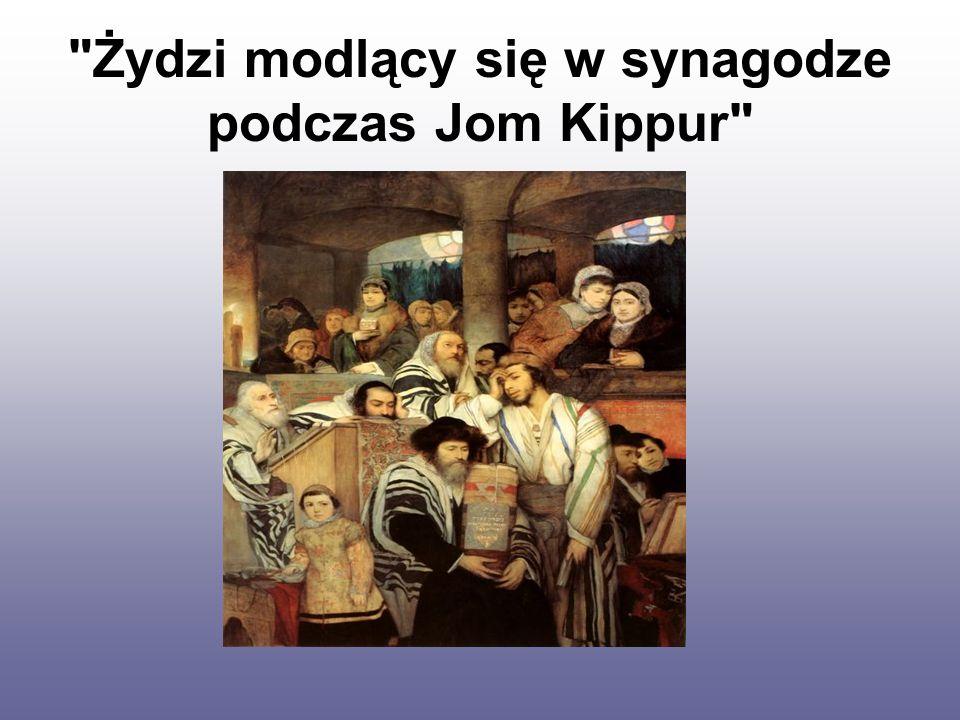 Żydzi modlący się w synagodze podczas Jom Kippur
