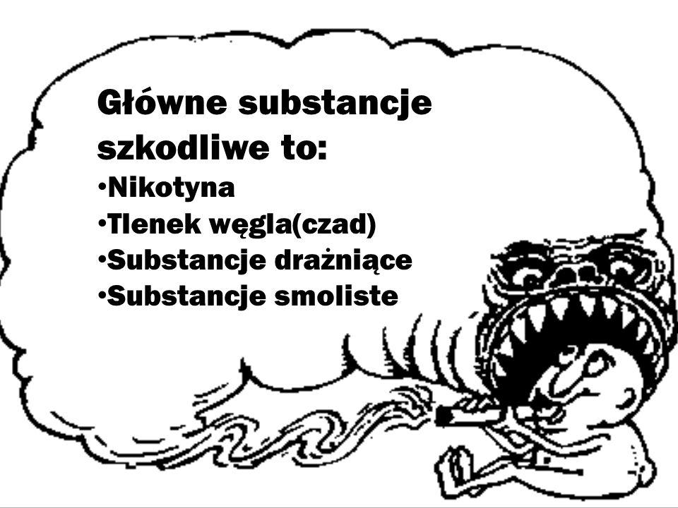 Główne substancje szkodliwe to: