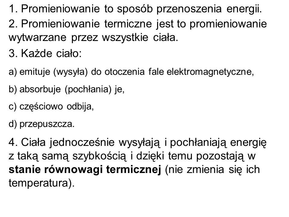 1. Promieniowanie to sposób przenoszenia energii.