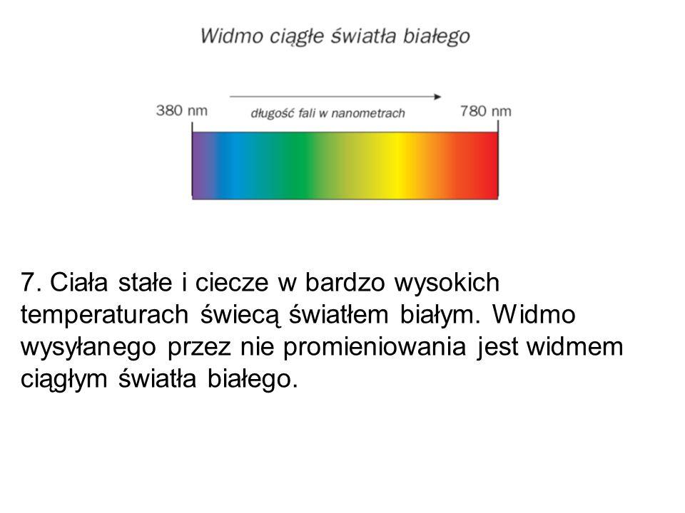7. Ciała stałe i ciecze w bardzo wysokich temperaturach świecą światłem białym.