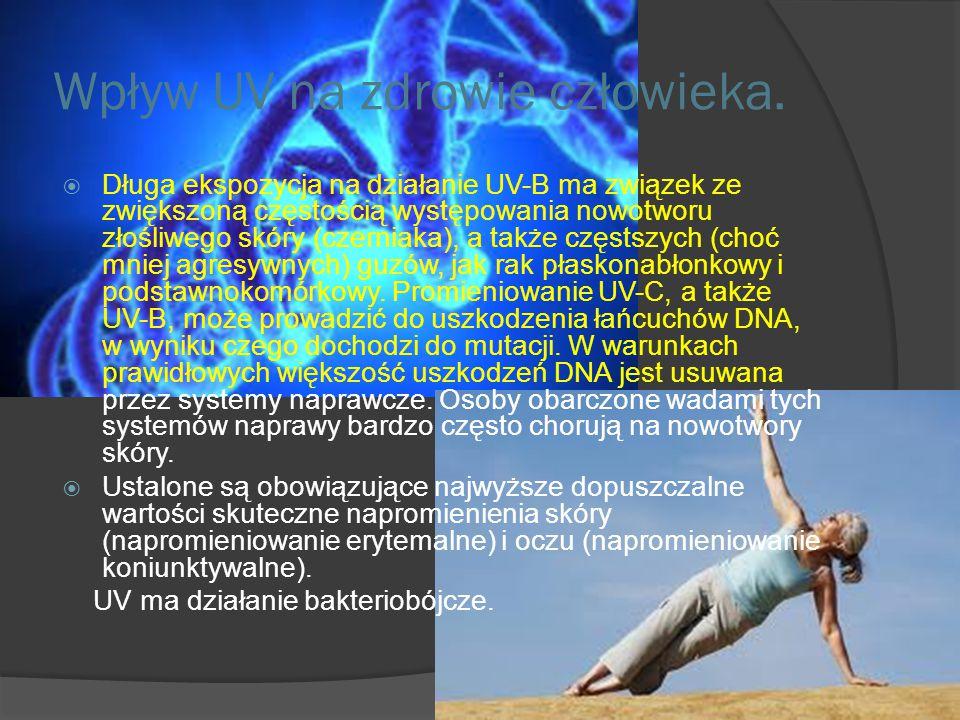 Wpływ UV na zdrowie człowieka.