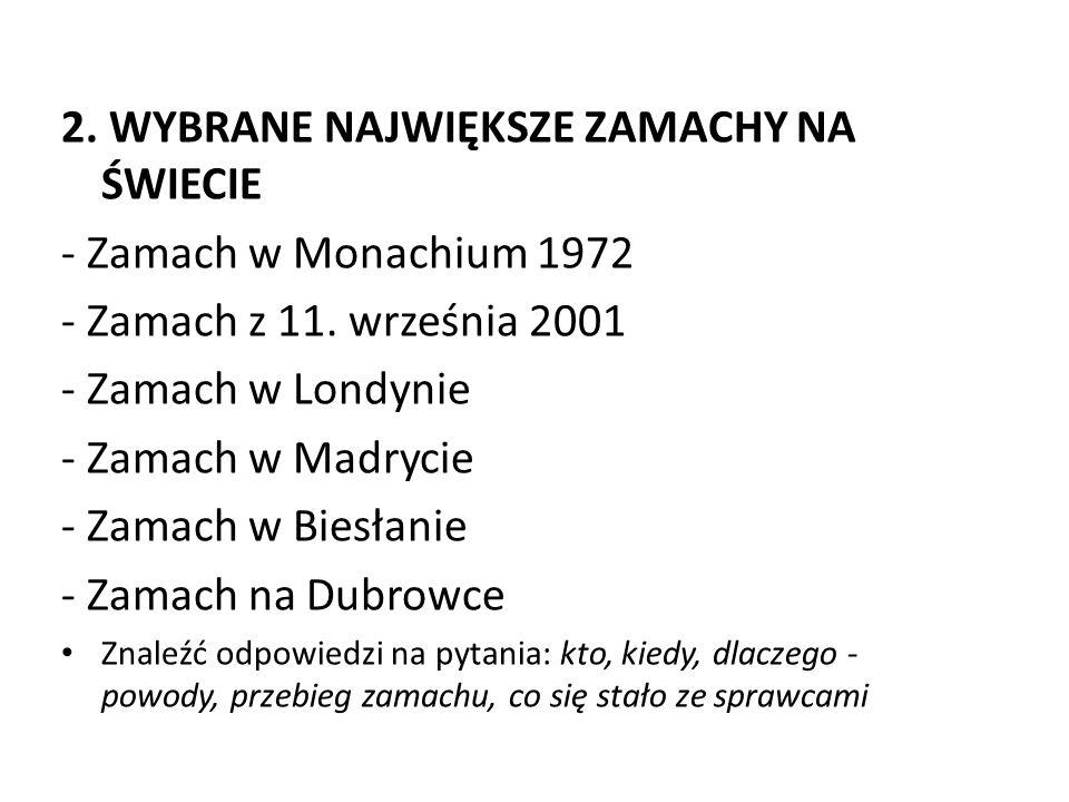 2. WYBRANE NAJWIĘKSZE ZAMACHY NA ŚWIECIE - Zamach w Monachium 1972