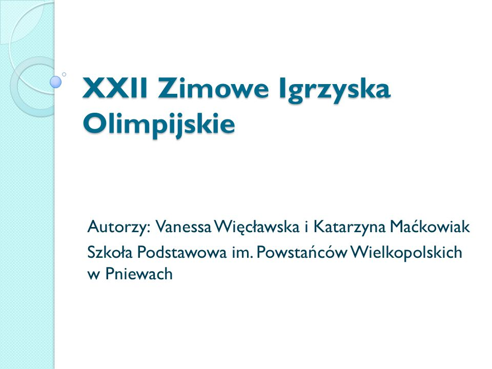 XXII Zimowe Igrzyska Olimpijskie