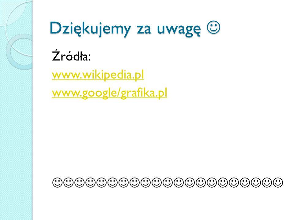 Dziękujemy za uwagę  Źródła: www.wikipedia.pl www.google/grafika.pl 