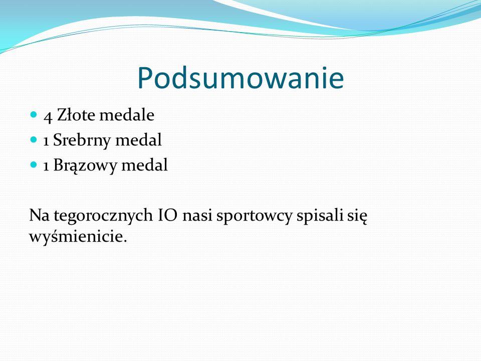 Podsumowanie 4 Złote medale 1 Srebrny medal 1 Brązowy medal