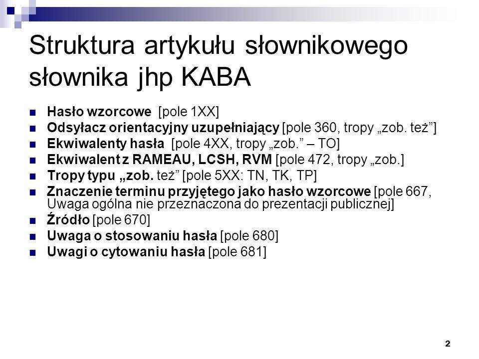 Struktura artykułu słownikowego słownika jhp KABA