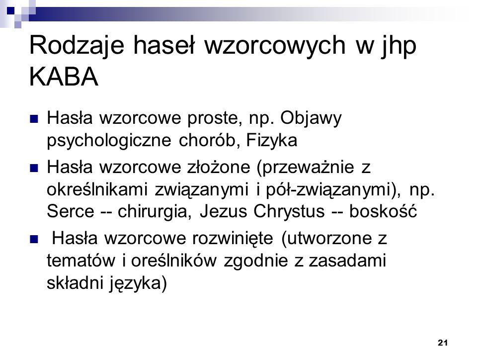 Rodzaje haseł wzorcowych w jhp KABA