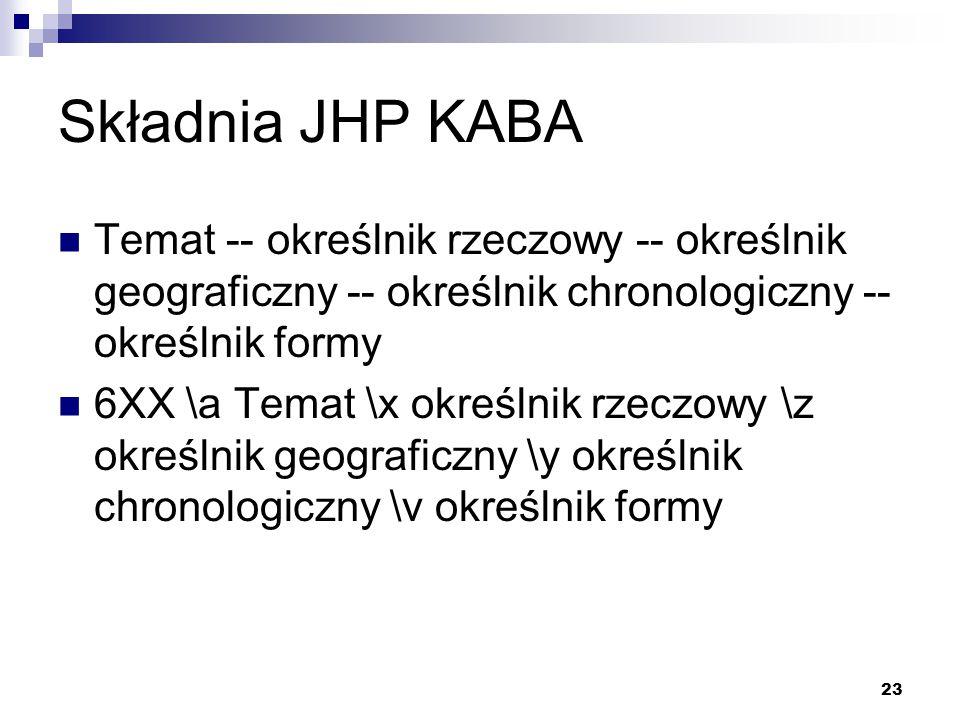 Składnia JHP KABA Temat -- określnik rzeczowy -- określnik geograficzny -- określnik chronologiczny -- określnik formy.