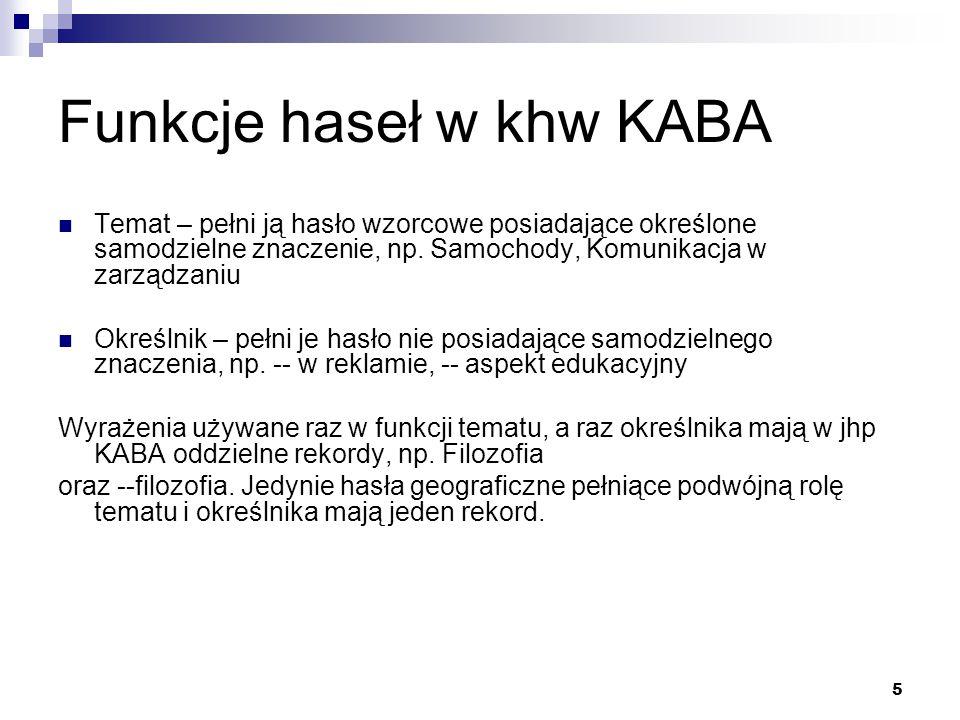 Funkcje haseł w khw KABA