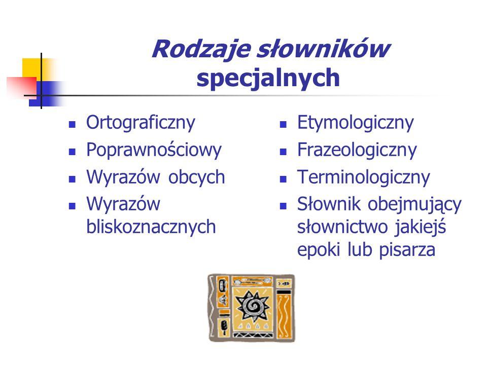 Rodzaje słowników specjalnych