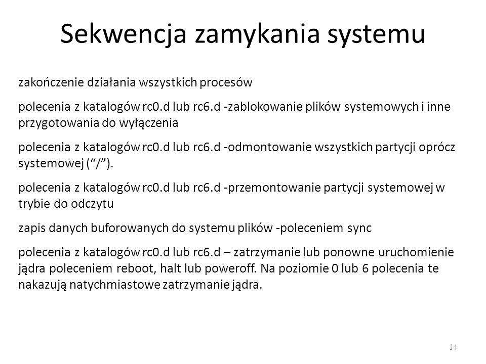 Sekwencja zamykania systemu