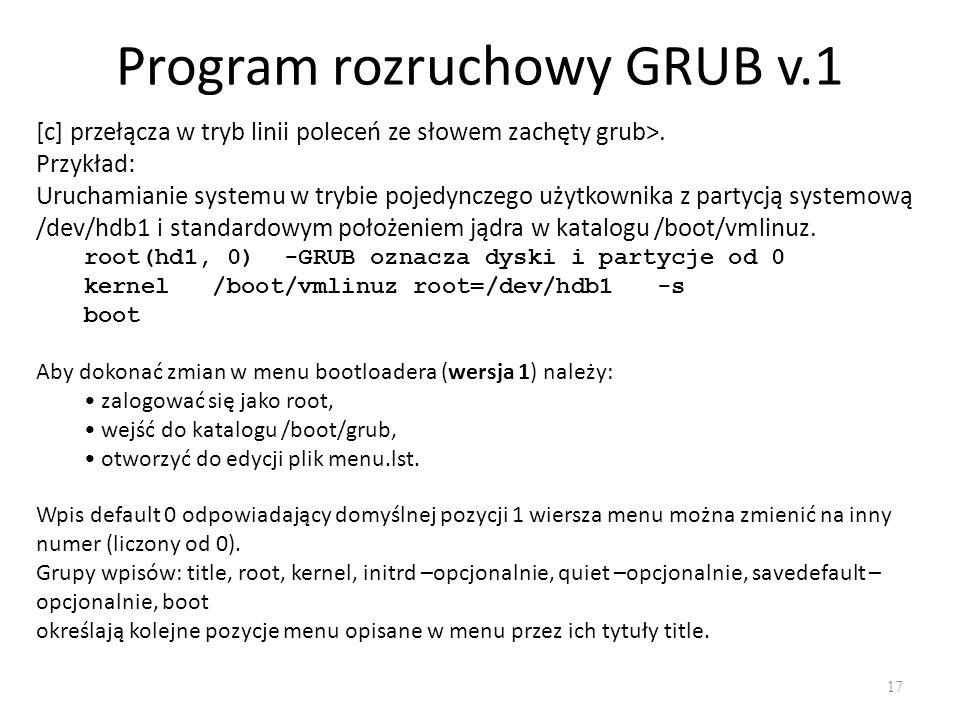 Program rozruchowy GRUB v.1