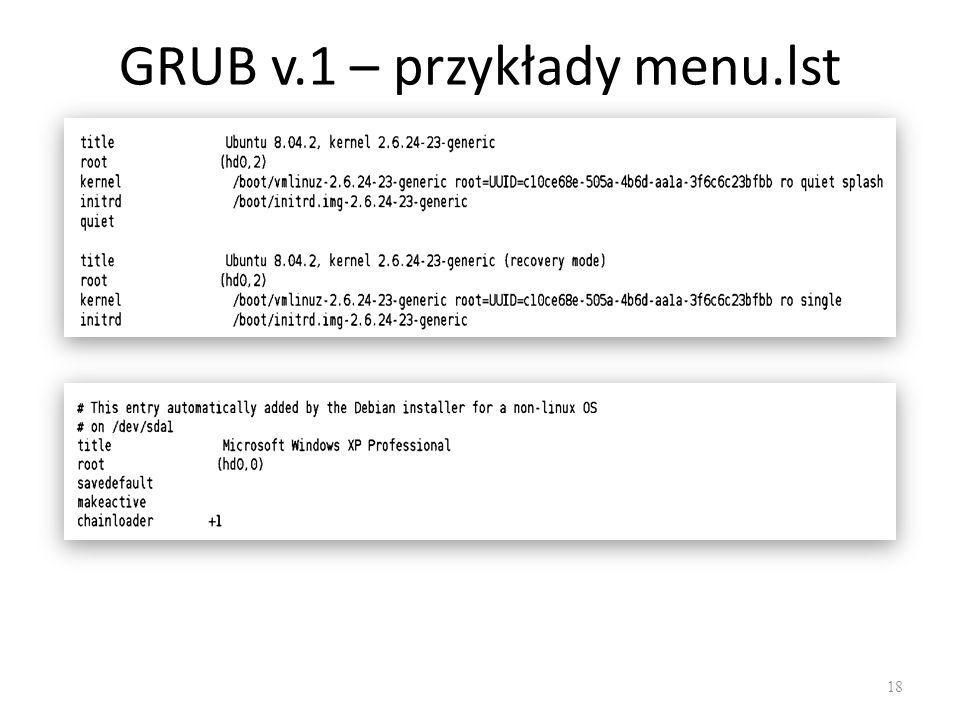 GRUB v.1 – przykłady menu.lst