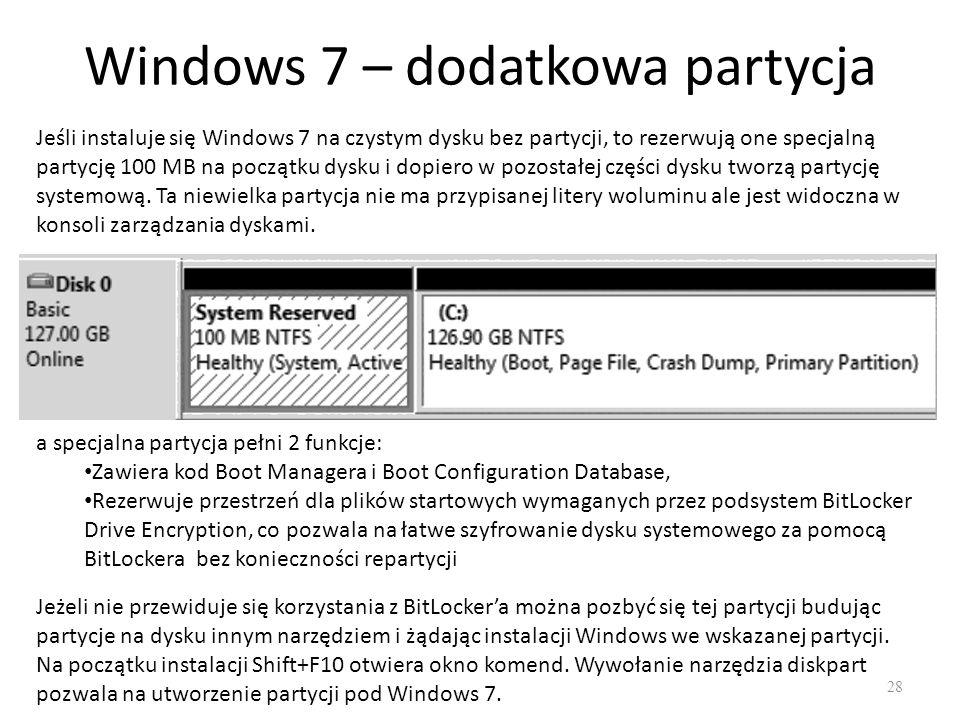 Windows 7 – dodatkowa partycja