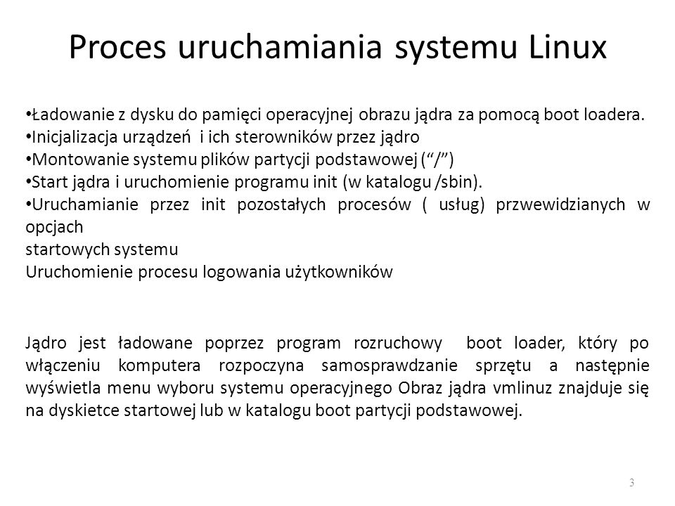 Proces uruchamiania systemu Linux