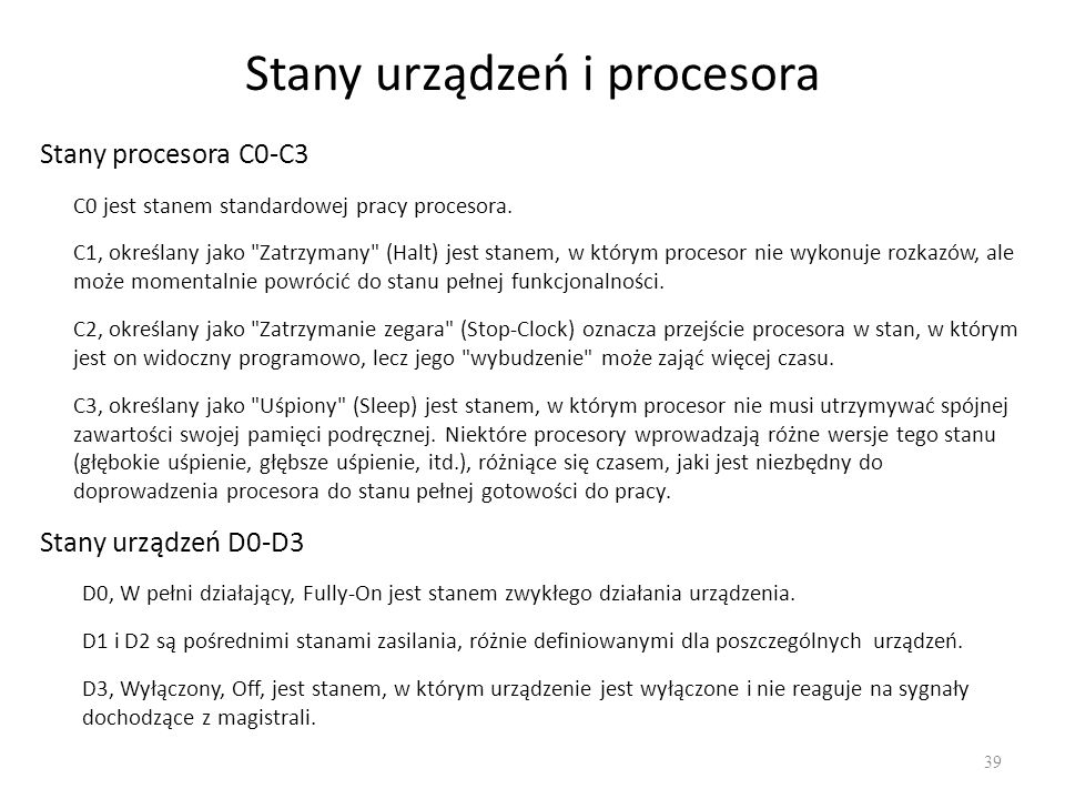 Stany urządzeń i procesora