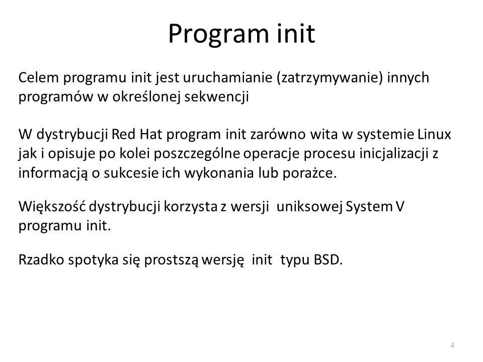 Program init Celem programu init jest uruchamianie (zatrzymywanie) innych programów w określonej sekwencji.