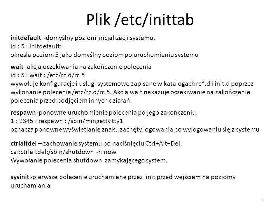 Plik /etc/inittab initdefault -domyślny poziom inicjalizacji systemu.